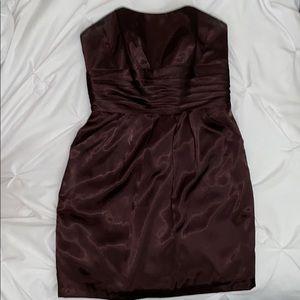 David's Bridal Dark Brown Strapless Dress